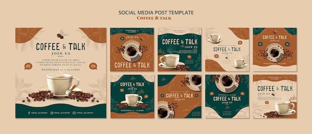 Café e conversa post de mídia social Psd grátis