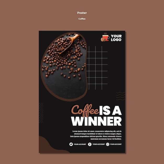 Café é modelo de pôster vencedor Psd grátis