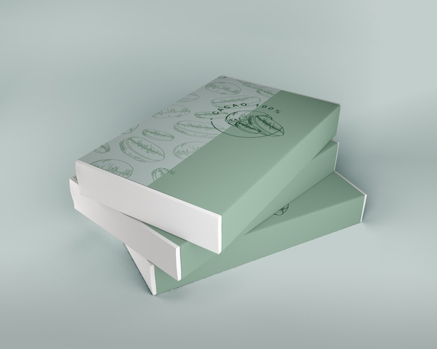 Caixa arrumada de chocolate mock-up Psd Premium