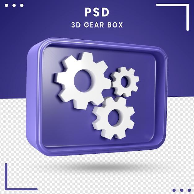 Caixa de engrenagens girada 3d Psd Premium