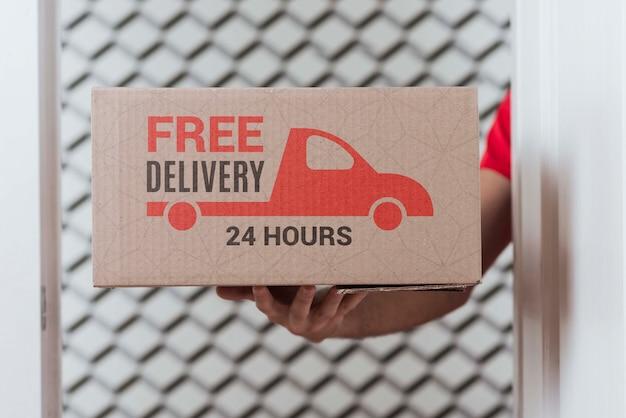 Caixa de entrega gratuita sem parar em close-up Psd grátis