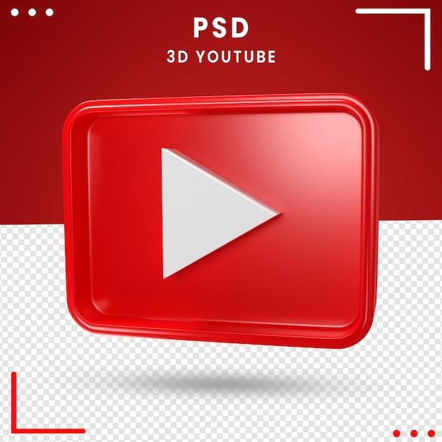 Caixa de logotipo girada em 3d do youtube Psd Premium