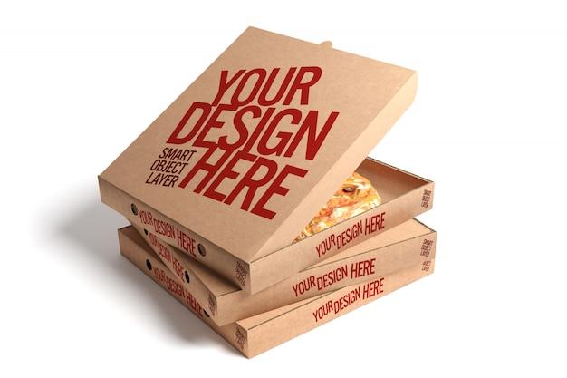 Caixa de pizza simulada acima isolada Psd Premium