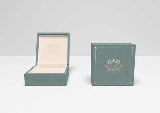 Caixa de presente azul aberta e fechada com capa Psd grátis