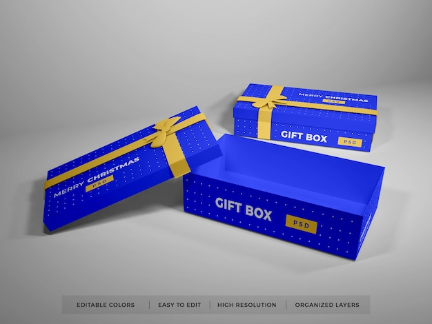 Caixa de presente de natal com modelo de fita Psd Premium