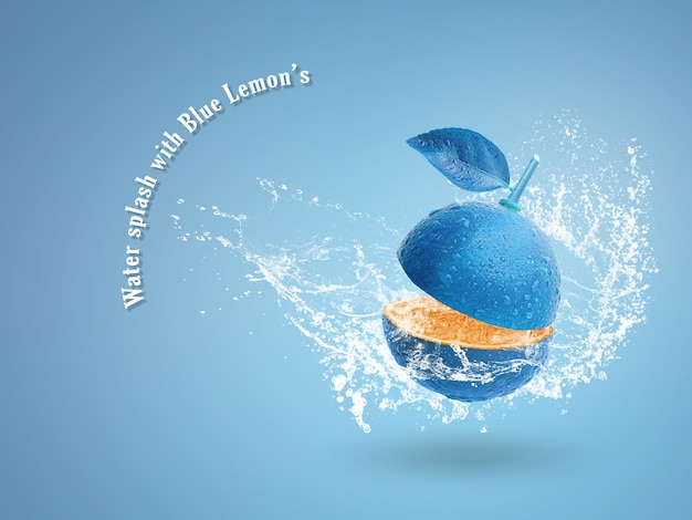 Cal azul fresco isolado sobre fundo azul. Psd Premium