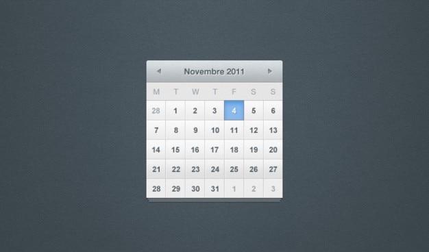 Calendário calendário psd psd ui Psd grátis