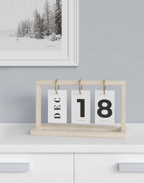 Calendário datado flexível na maquete do armário Psd grátis
