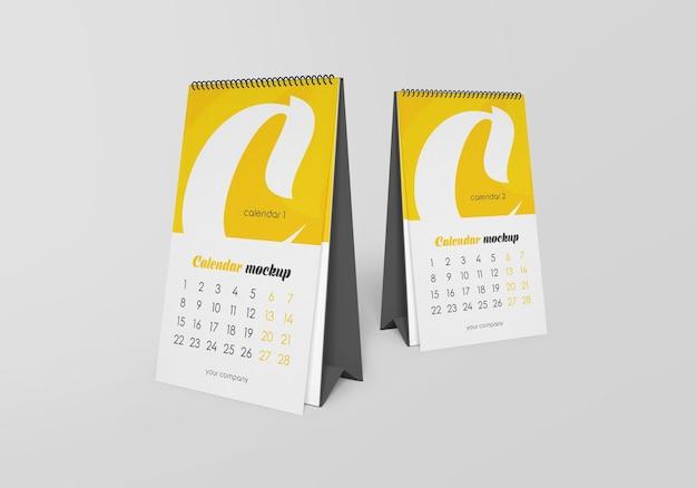 Calendário de mesa espiral com maquete de notas isolado Psd Premium
