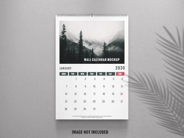 Calendário de parede elegante de maquete de vista frontal Psd Premium