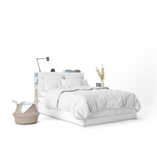 Cama com maquete de lençóis brancos e elementos decorativos Psd grátis