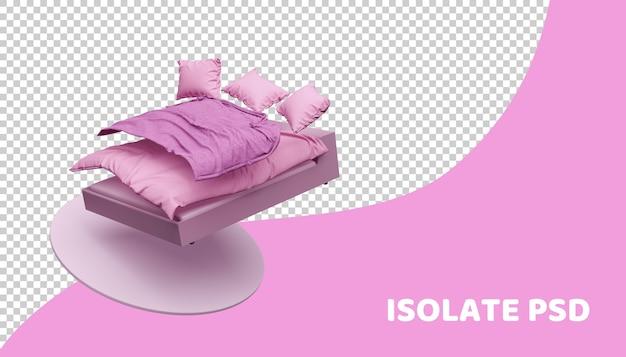 Cama rosa e roupa de cama em 3d render isoladas Psd Premium