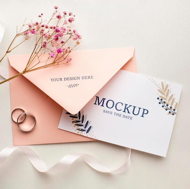 Camada plana da bela maquete do conceito de casamento Psd Premium