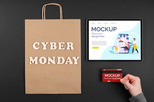 Camada plana do mock-up do conceito de cyber segunda-feira Psd grátis