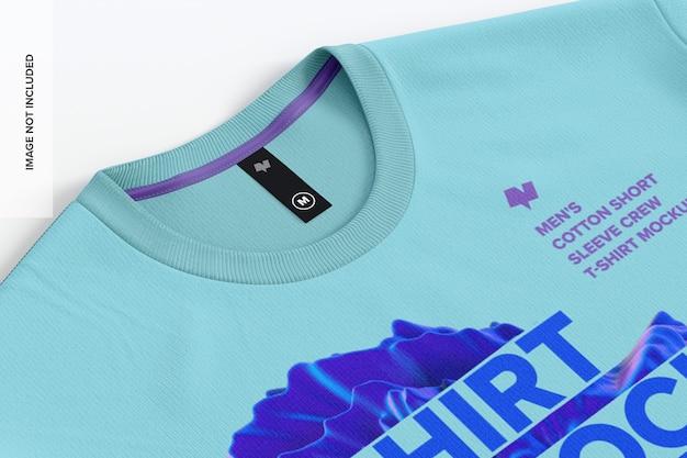 Camiseta masculina de algodão com close-up de maquete da etiqueta Psd Premium