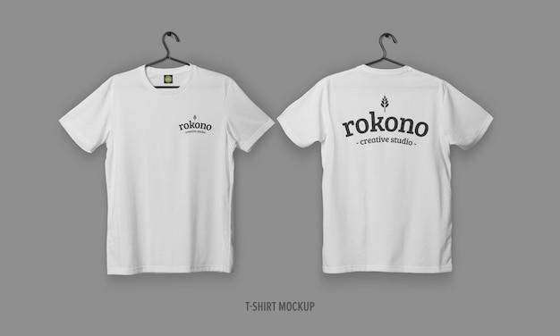 Camisetas realistas com maquete de rosto e costas Psd Premium