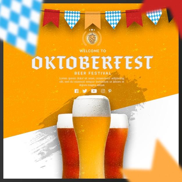 Canecas de cerveja oktoberfest com bandeiras de festão Psd grátis
