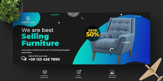 Capa de facebook de venda de móveis e design de modelo de banner para facebook Psd Premium