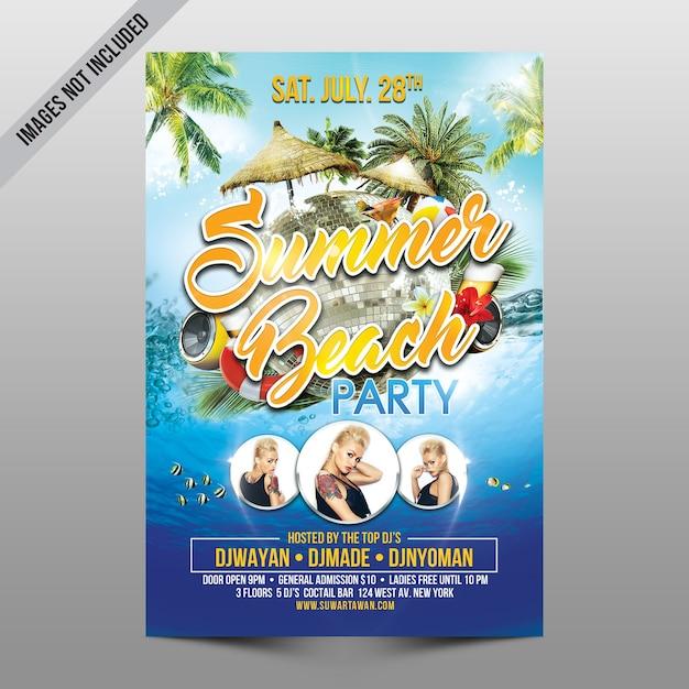 Capa de festa de praia de verão Psd Premium