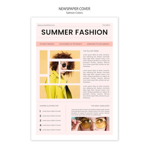 Capa de jornal de moda de verão Psd grátis