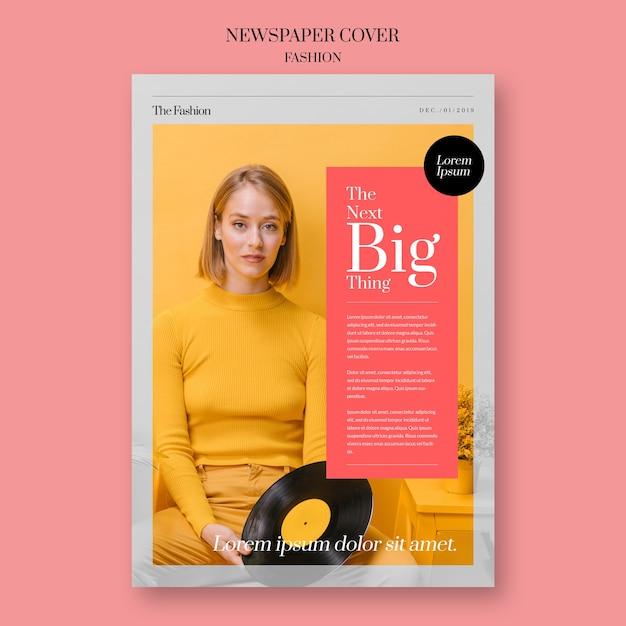 Capa de moda de jornal com disco de mulher e vinil Psd grátis