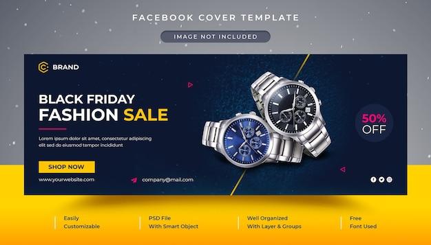 Capa do facebook e modelo de banner da web para venda de relógio de pulso black friday Psd Premium