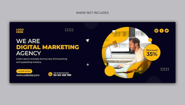 Capa do facebook ou modelo de banner da web para agência de marketing digital Psd Premium