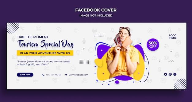 Capa ou cabeçalho da linha do tempo do facebook para um dia especial de turismo e modelo de banner Psd Premium