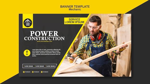 Carpinteiro trabalhador poder construção banner Psd grátis