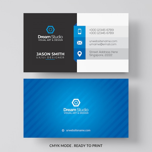 Cartão azul e branco Psd grátis