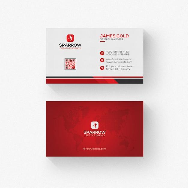 Cartão branco com detalhes vermelhos Psd Premium