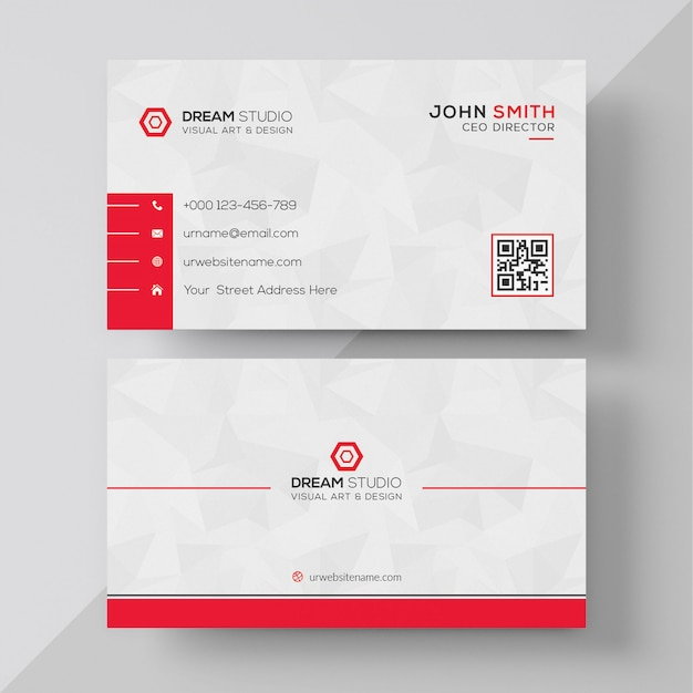 Cartão branco com detalhes vermelhos Psd grátis