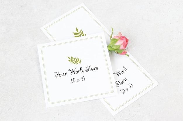 Cartão de casamento de maquete e cartão de agradecimento Psd Premium