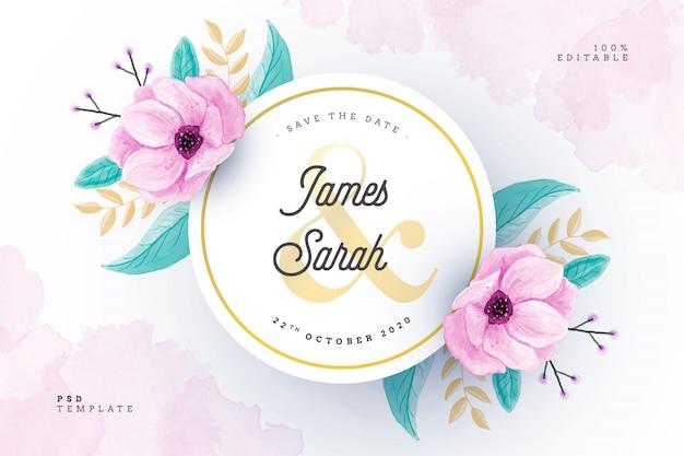 Cartão de casamento em aquarela com moldura floral Psd grátis