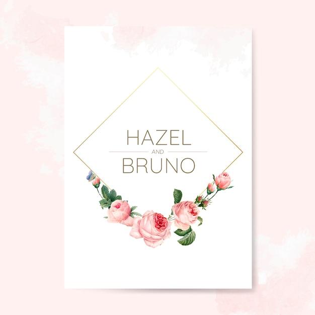 Cartão de convite de casamento decorado com rosas Psd Premium