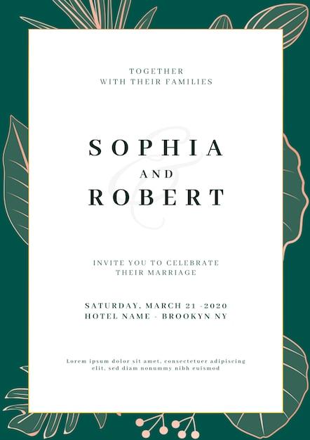 Cartão de convite de casamento elegante com o conceito de natureza Psd grátis