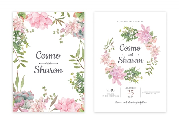 Cartão de convite de casamento floral handdrawn Psd Premium