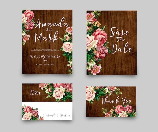 Cartão de convite de casamento rsvp Psd Premium