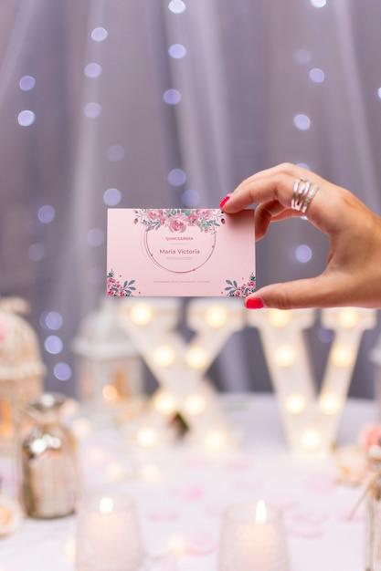 Cartão de convite para doce quinze Psd grátis