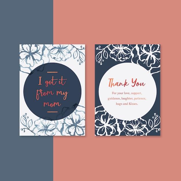 Cartão de dia das mães com flores de contraste Psd grátis