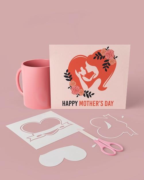 Cartão de dia das mães comemoração com maquete Psd grátis