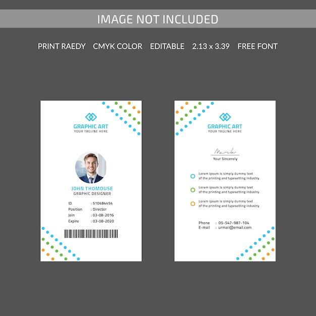 Cartão de identificação colorido Psd Premium