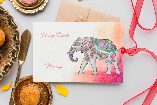 Cartão de mock-up feliz do festival de diwali de vista superior com fita Psd grátis