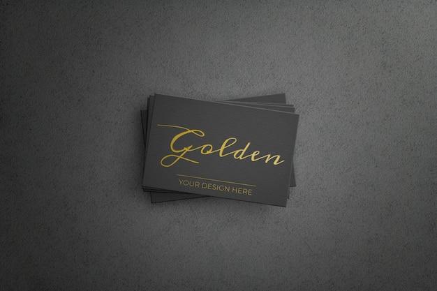 Cartão de negócios preto com design dourado Psd grátis