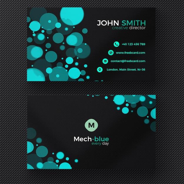 Cartão de visita azul com círculos do bokeh Psd grátis