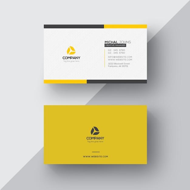 Cartão de visita branco e amarelo Psd grátis