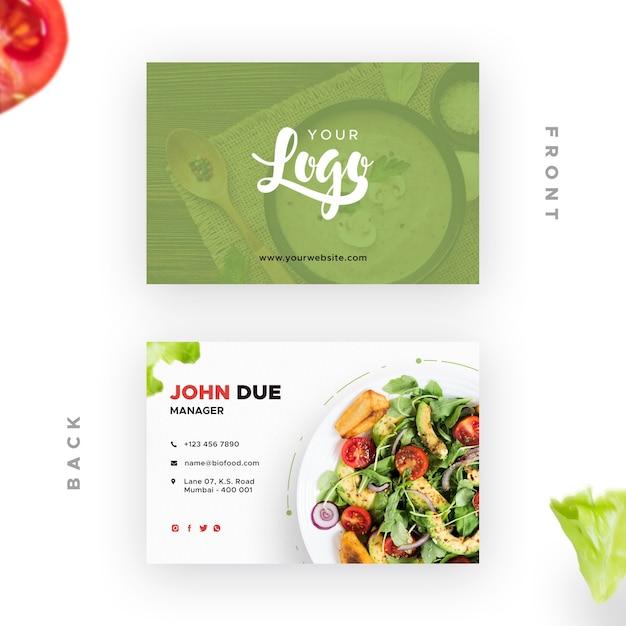 Cartão de visita com bio restaurante Psd grátis