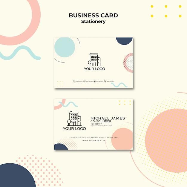 Cartão de visita com efeito memphis em tons pastel Psd grátis