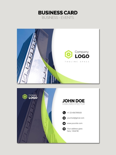 Cartão de visita com logotipo da empresa e construção do céu Psd Premium