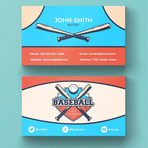 Cartão de visita de beisebol Psd grátis